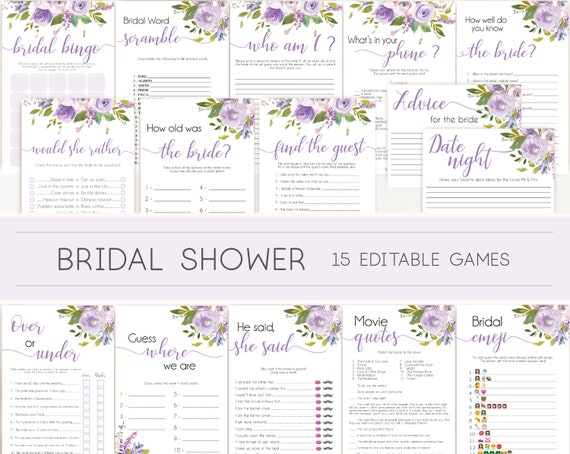 Bridal Shower Games, Bridal Shower Games Bundle, Lilac Lavender, Editable Bridal Shower Games Package, Bridal Shower Games Lilac Floral Game