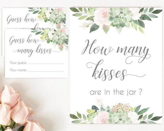 How many kisses are in the jar sign, Succulent Bridal Shower Blush Pink, How many kisses cards and sign, Bridal Shower How many kisses card