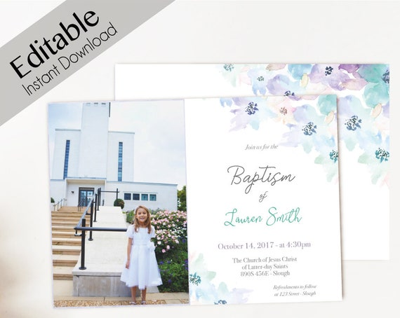 Baptism Invitation Girl Editable PDF Girl Invitation purple lilac green blue watercolor. Invite Photo Girl Baptism Invitation Template