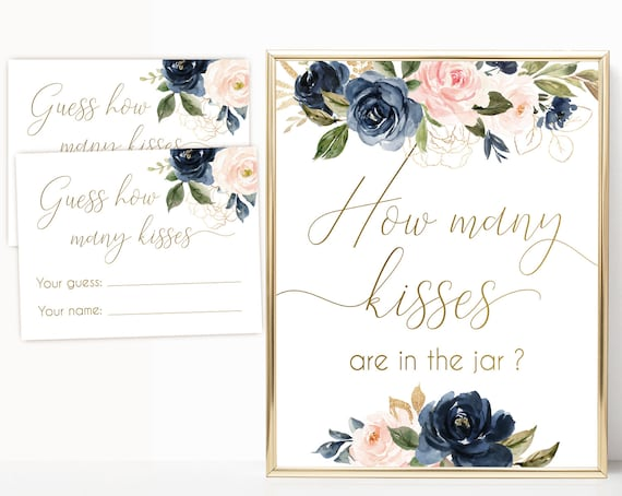 How many kisses are in the jar sign, How many kisses cards and sign, Bridal Shower How many kisses, Navy Gold Rose Bridal Shower, BG01