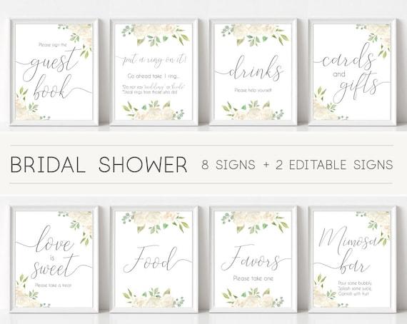 Bridal Shower Sign Set, Bridal Shower Sign Package Bundle,Printable Bridal Tea Sign Romantic white Floral Sign Editable Sign 5x7 8x10