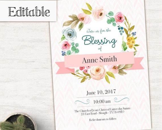 Blessing Invitation Girl Editable file, Editable PDF, Girl Invitation flowers, No Photo Needed, Invitation Template, LDS Blessing