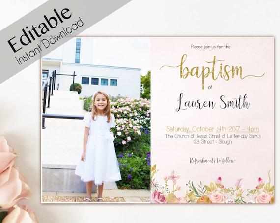 Baptism Invitation Girl, Editable PDF, Girl Invitation peach pink flowers, Baptism Invite, Flower watercolor Baptism template