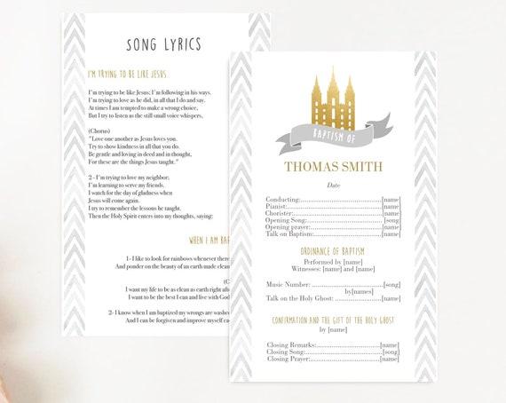 Baptism Program, Editable Program, LDS Printable Digital Handout Baptism, gold program, boy baptism, girl baptism, neutral baptism, Corjl