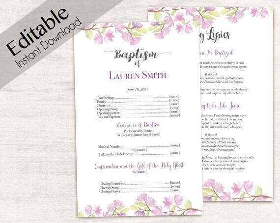 Baptism Program, Editable PDF, Printable Digital Handout Girl Baptism, Purple flowers, cherry blossom, Baptism Template