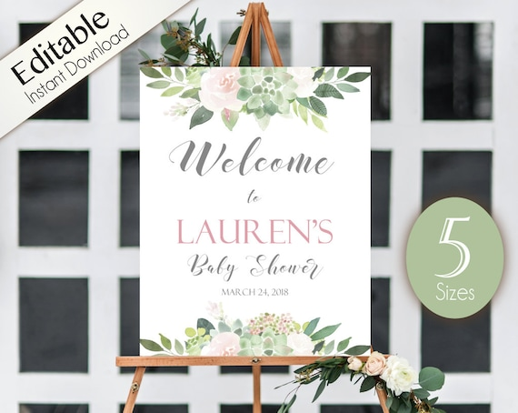 Succulent Welcome Sign Baby Shower, Template Baby Shower, Editable PDF, Welcome Baby Shower Sign, Succulent Dusty Rose Flowers, Baby Shower