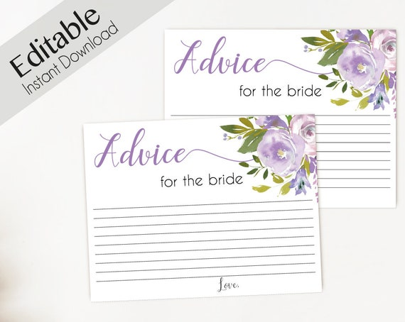Advice Card Printable, Bridal Shower Advice Card, Advice for the bride and groom, Instant Download, Lavender Lilac flowers Lilac Floral