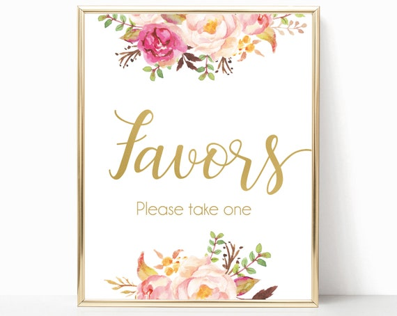Favors Sign, Romantic Blooms Rose Floral and Gold, Favours Sign, Bridal Shower sign, Wedding Sign, Wedding Shower Sign, Please take one sign
