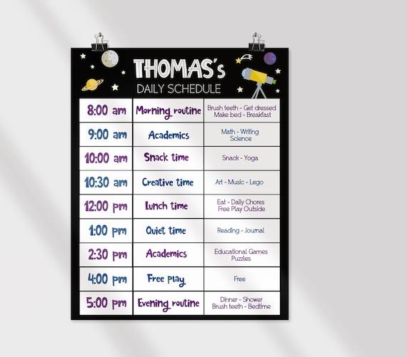 Editable Home School Daily Planner, Editable Daily Routine Schedule, Space Routine Schedule Chart, Boy Daily Homeschool Planner, Corjl