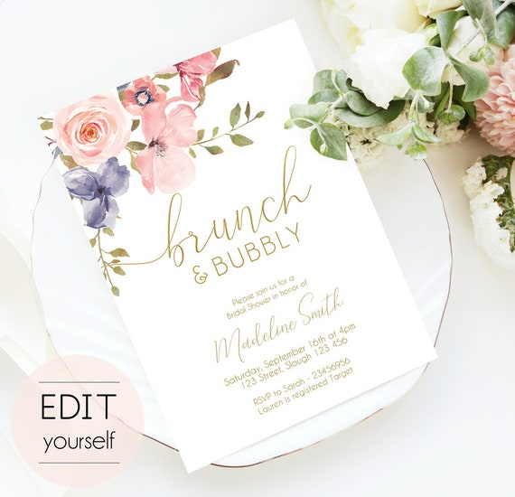 Brunch and Bubbly Bridal Shower Invitation Template, INSTANT DOWNLOAD Printable Wedding Shower Invite Romantic Blush Pink Floral Gold Bridal