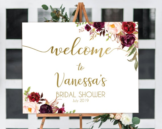 Welcome Sign Bridal Shower, Template Bridal Shower, Editable PDF, Welcome Bridal Shower, Marsala Burgundy Blush Floral Gold, Editable Sign