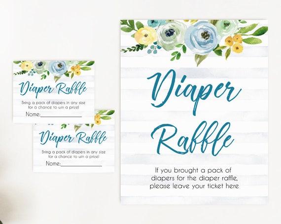 Diaper Raffle Baby Shower Sign Set, Diaper Raffle Tickets Baby Shower, Blue Baby Shower Sign, Baby Shower Boy Diaper Raffle, Floral Sign