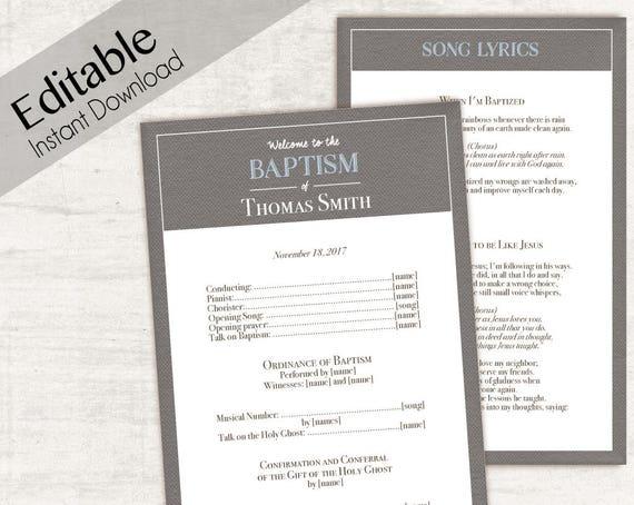 Baptism Program, Editable PDF,  Printable Digital Handout boy Baptism, blue brown, Baptism Program Template