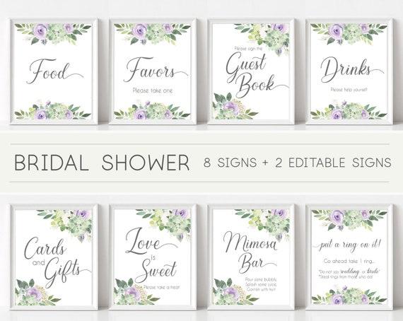 Bridal Shower Sign Set, Bridal Shower Sign Package Bundle,Printable Bridal Tea Sign Succulent Greenery Lilac Flowers Sign Editable Sign