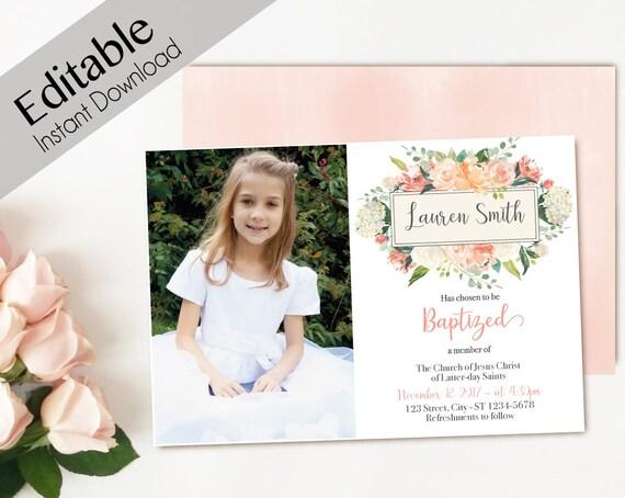 Baptism Invitation Girl, Editable PDF,  Girl Invitation peach flowers, Baptism Invite, Flower watercolor Baptism Invitation Template