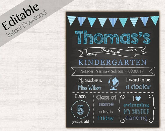 First Day of School Sign, First day of School Chalkboard Editable school sign, Chalkboard Sign, Kindergarten, Grade School, INSTANT DOWNLOAD