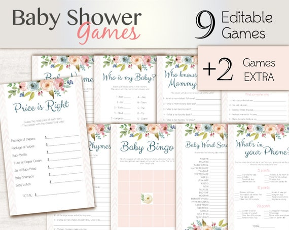 Baby Shower Games Pink, floral, Editable Baby Shower Games Package Set Bundle , Editable games, Baby Shower Games Girl, Floral Game Set,