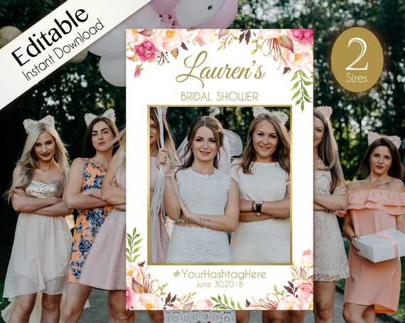 Bridal Shower Photo Booth Frame, Photo Prop Frame, Birthday Photo Booth Prop,  Editable PDF, Romantic Blooms Rose Floral Gold