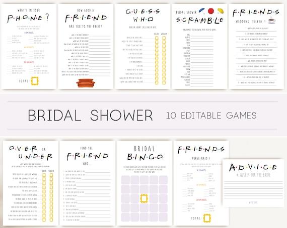 Friends Tv Show Bridal Shower Games, Editable Bridal games, Bachelorette games, Friends Theme, Bridal Shower Games Bundle, Friends Games