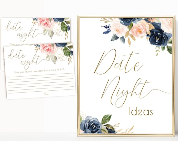 Date night ideas, Navy Blush Pink Flower Gold, date night cards, date night sign, Instant Download, BG01