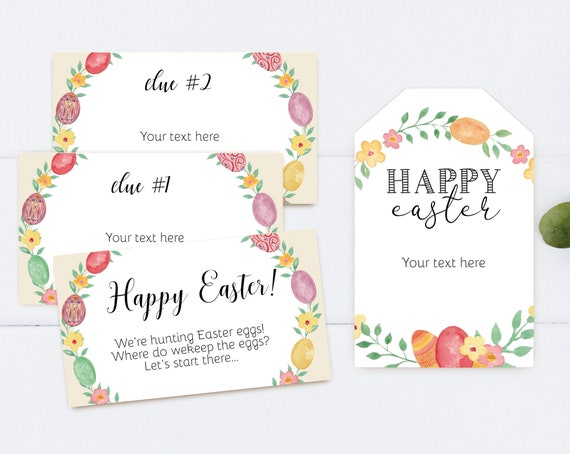Easter Egg Hunt Clues, Editable Easter Scavenger Hunt Clue Cards, Happy Easter Printable Gift Tags, Editable Favor Tags Easter, Corjl