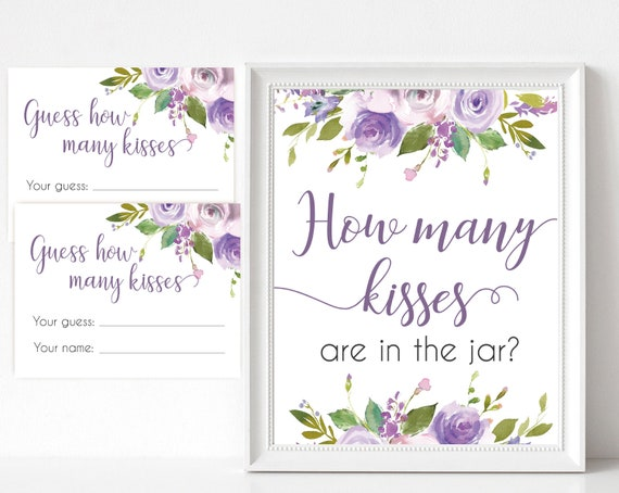 How many kisses are in the jar sign, Floral Bridal lilac lavender, How many kisses cards and sign, Bridal Shower How many kisses
