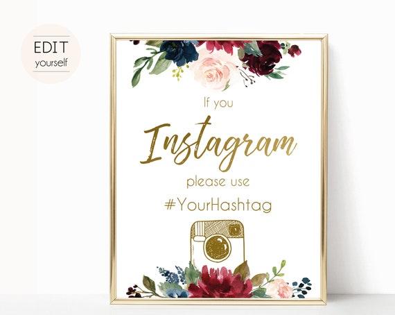 Instagram Bridal Sign, Instagram Wedding Sign, If You Instagram Sign, Editable Wedding Hashtag Sign, Navy Marsala Burgundy Blush Floral Gold