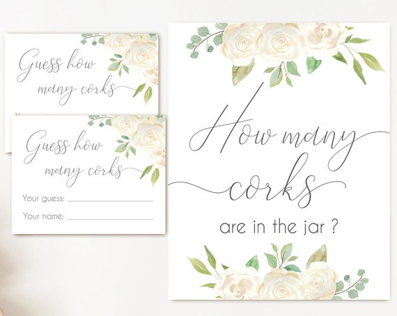 How many corks are in the jar sign, Romantic White Flowers, How many corks cards and sign Bridal Shower How many corks