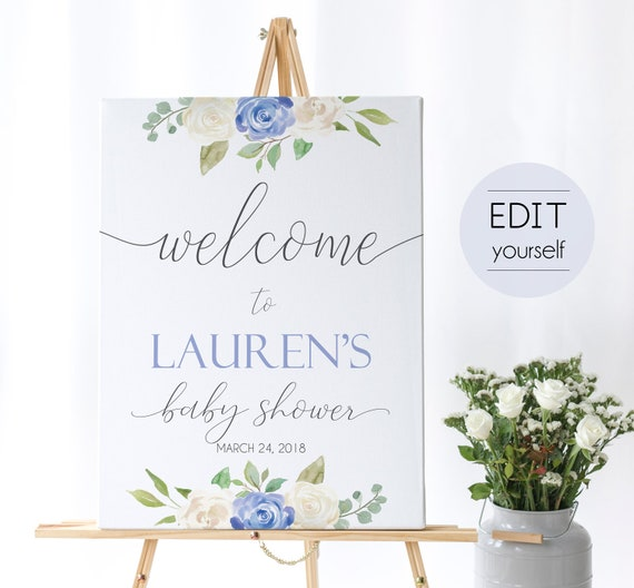 Welcome Sign Baby Shower, Template Baby Shower, Editable PDF, Welcome Baby Shower Sign, Welcome Sign Blue, Editable Sign