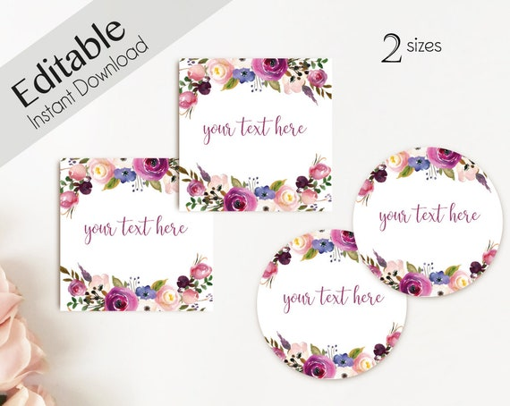 EDITABLE Label / Tag, Mimosa Bar Juice Tags, Bar Drink Tags, Editable Labels Bridal Shower Decoration, Lavender Purple Flower