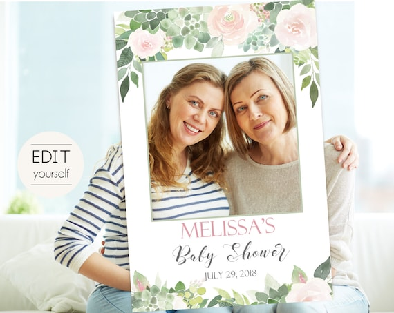 Baby Shower Photo Booth Frame, Photo Prop Frame, Photo Booth Prop, Instant Download, Editable PDF, Succulent greenery Dusty Rose Floral