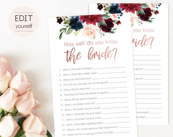 Bridal Shower Game, How well do you know the bride, Editable PDF, Bridal Shower Navy Marsala Rose Gold, Editable Game
