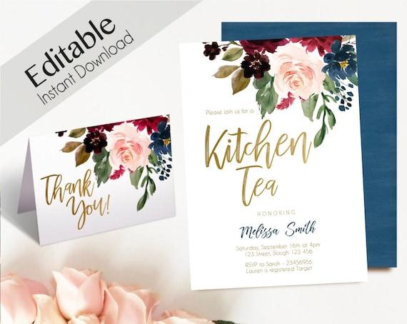 Kitchen Tea Invitation, Editable PDF, Bridal Shower, Blue Navy Marsala Burgundy Blush Gold, Thank you Card, DIY Kitchen Tea Template