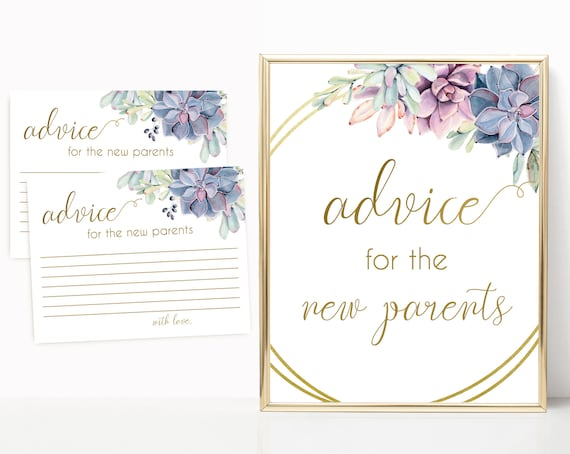 Editable Advice for the new parents sign, Editable Advice Cards, Baby Shower Sign Printable, Succulents Lilac Blue Pink, Baby Shower