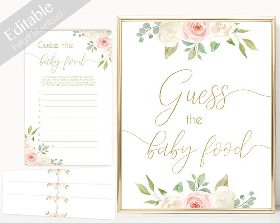 Guess the food baby Sign, Food baby cards, Baby Shower Printable Game, Romantic Blush Pink Floral Gold, Baby Shower, Instant Download