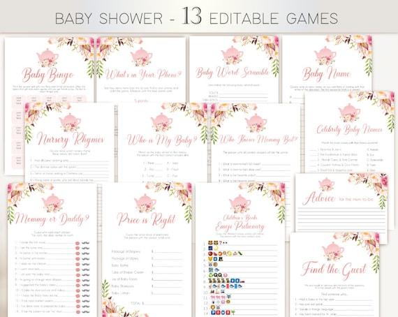 Baby Shower Games, Baby Tea Games, Editable Baby Shower Games Package Set Bundle, Romantic Blush Bloom Pink, Baby Tea Games, Tea pot, Corjl