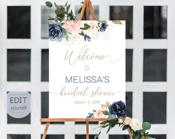 Welcome Sign Bridal Shower Template, Editable PDF, Editable Navy Gold Dusty Rose Floral Bridal Shower Welcome Sign, Printable, BG01