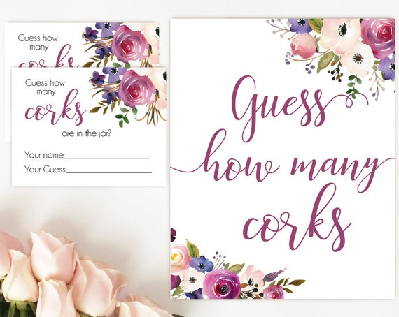 How many corks are in the jar sign, Lavender Purple Flowers, How many corks cards and sign, Bridal Shower How many corks