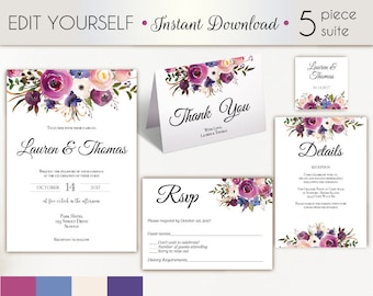 Wedding Invitation Template, Wedding Invitation Set, Lavender Blue Floral Wedding Invitation, Editable Wedding Invite, Instant Download,