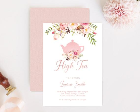 High Tea Invitation, High Tea Bridal Shower, Tea Party Birthday, Romantic Blush Pink Floral Bloom, DIY Bridal Tea Invitation Pink Tea pot