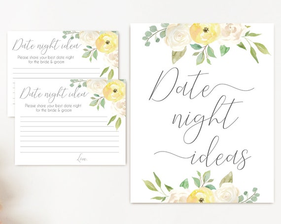 Date night ideas, White Yellow flowers, date night cards, date night sign, Bridal Shower Game, instant download, party game