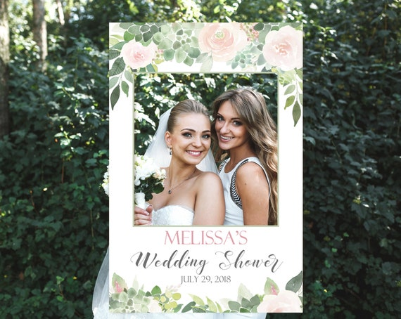 Wedding Shower Succulent Photo Booth Frame, Succulent Photo Prop Frame, Photo Booth Prop, Editable PDF, Succulent greenery Dusty Rose Floral