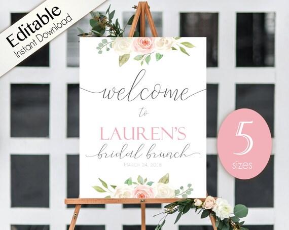 Welcome Sign Bridal Brunch, Template Bridal Brunch, Editable PDF, Welcome Bridal Brunch Sign Romantic White Blush Pink Floral, Editable Sign