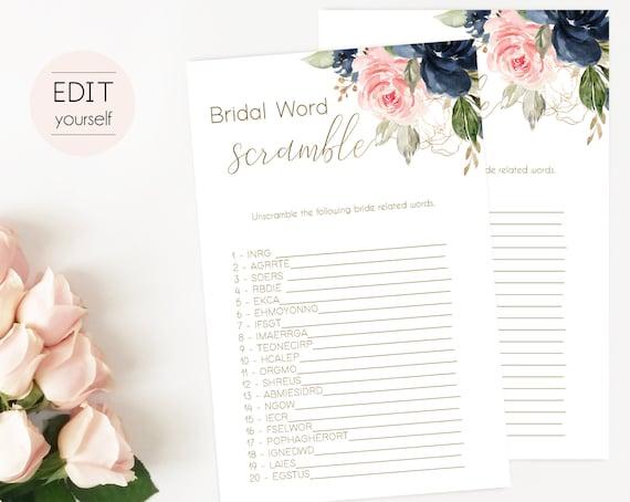 Bridal Shower Game Bridal Word Scramble Editable PDF Bridal Shower Blue Navy Blush Rose and Gold Editable Game, Editable Scramble Game