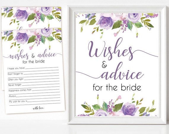 Bridal Shower Advice sign and cards, Wishes Advice Cards Bridal Shower Wishes Cards Printable watercolor lilac floral INSTANT DOWNLOAD