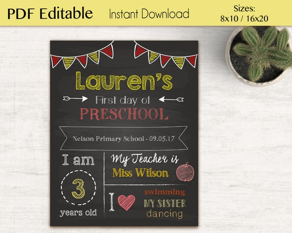 First/Last Day of School Chalkboard Print, Editable text Yellow Red, DIY, Chalkboard Sign, Kindergarten, Grade School, INSTANT DOWNLOAD