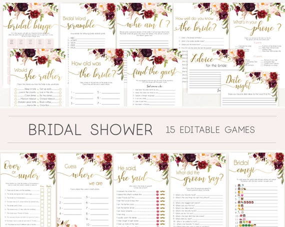 Bridal Shower Games, Bridal Shower Games Bundle, Bridal Shower Games Gold, Editable Games, Marsala Burgundy Blush and Gold