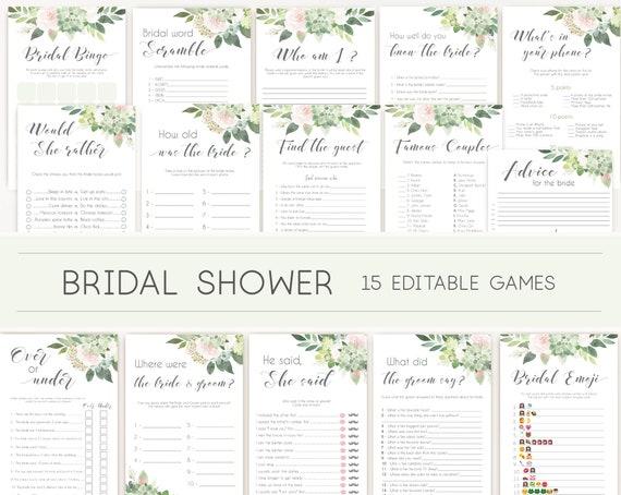 Bridal Shower Games, Bridal Shower Games Bundle, Editable Bridal Shower Games, Package Set Bundle, Succulent Greenery