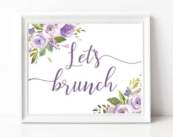 Let's Brunch Sign, Baby Shower Sign, Brunch Bar, Brunch Bar Sign, Bridal Shower Sign, Wedding Shower, Lilac Lavender Purple Floral