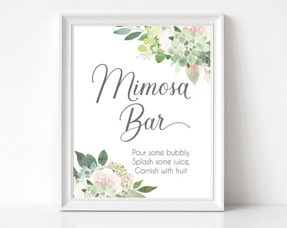 Mimosa Bar sign, Succulents Blush Flowers, Mimosa Bar Sign, Wedding Bar Sign, Printable Sign, Wedding Sign, Engagement Party Bubbly